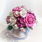 Цветы и флористика ручной работы. Ярмарка Мастеров - ручная работа Букет с цветами Розы и душистого горошка из полимерной глины. Handmade.