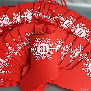 """Сувениры и подарки ручной работы. Ярмарка Мастеров - ручная работа """"Новогодний носок"""" упаковка для адвент календаря. Handmade."""