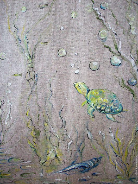 Текстиль, ковры ручной работы. Ярмарка Мастеров - ручная работа. Купить Льняные шторки с росписью...На дне морском...... Handmade.