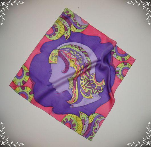 """Шарфы и шарфики ручной работы. Ярмарка Мастеров - ручная работа. Купить Шелковый платок """"Дева-знак зодиака"""" батик. Handmade."""