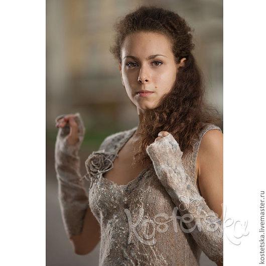 """Платья ручной работы. Ярмарка Мастеров - ручная работа. Купить Авторское платье """"Дюны"""" Эко одежда. Бежевый, белый, коричневый. Handmade."""