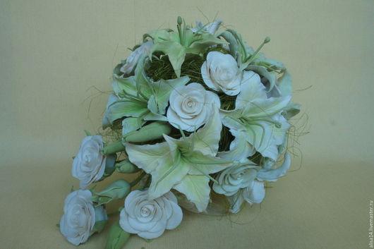 Цветы ручной работы. Ярмарка Мастеров - ручная работа. Купить Свадебный букет с лилиями. Handmade. Белый, полимерная глина