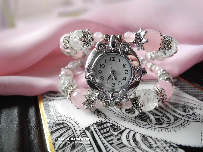 Часы женские на руку Легкое Дыхание, часы-браслет, женские часы комплект украшений купить в питере, кварцевые часы, женский розовый браслет с часами, ollika handmade, ollika Ольга Дмитриева, авторска