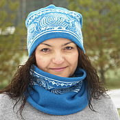 Аксессуары handmade. Livemaster - original item Set beanie and Snood with sheep of Merinos color sea wave. Handmade.