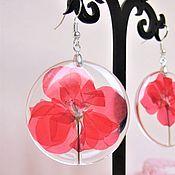 Украшения handmade. Livemaster - original item Earrings Red Geranium flowers rustic Boho resin Jewelry. Handmade.