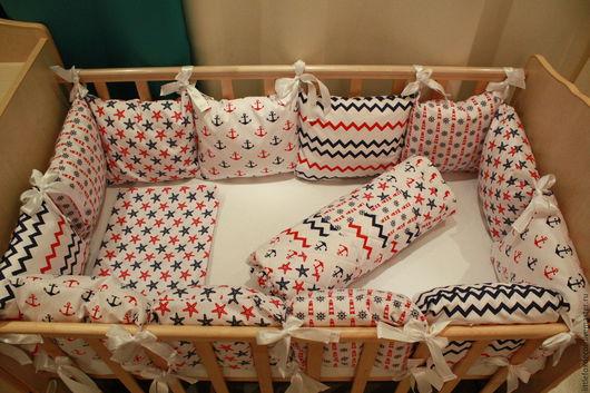 Детская ручной работы. Ярмарка Мастеров - ручная работа. Купить Комплект в детскую кроватку с бортиками. Handmade. Комбинированный, бортики-подушки