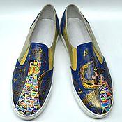 """Обувь ручной работы. Ярмарка Мастеров - ручная работа Кожаные слипоны """"Две жемчужины.."""". Handmade."""