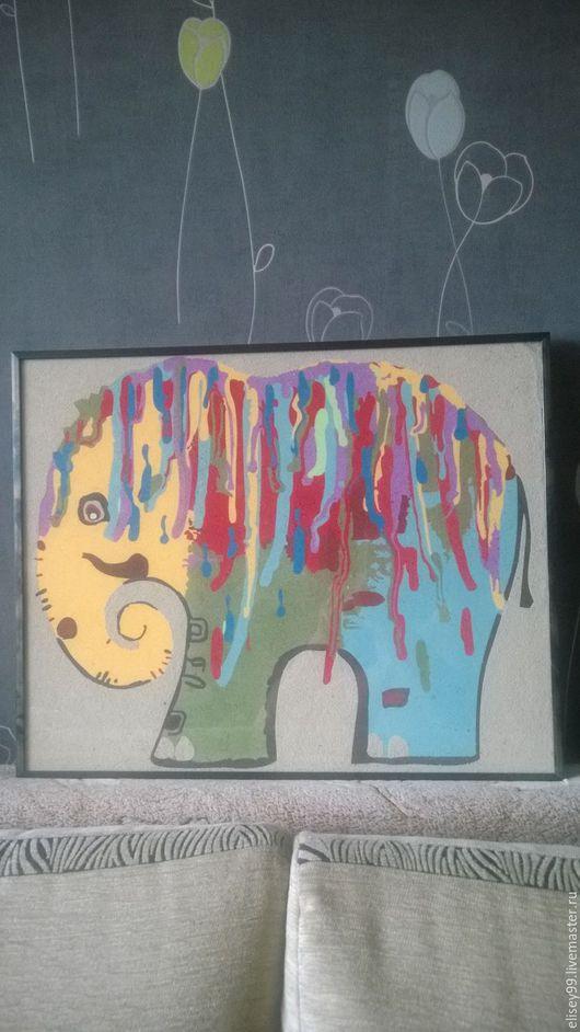 Животные ручной работы. Ярмарка Мастеров - ручная работа. Купить Радужный слон. Handmade. Подарок, картина для интерьера, цветной песок