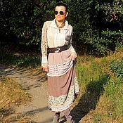 Одежда ручной работы. Ярмарка Мастеров - ручная работа Осенне-зимнее макси платье цвета капучино (№354). Handmade.
