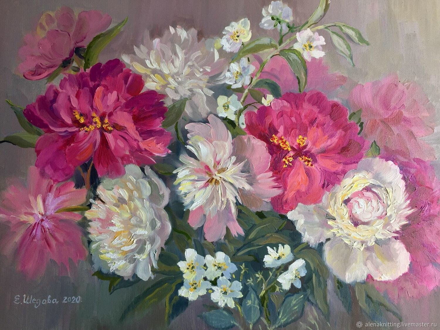 Oil painting ' Bright peonies», Pictures, Moscow,  Фото №1