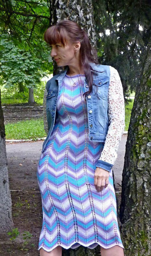Платья ручной работы. Ярмарка Мастеров - ручная работа. Купить Платье из хлопка Миссони. Handmade. Зигзаг, белый, платье спицами
