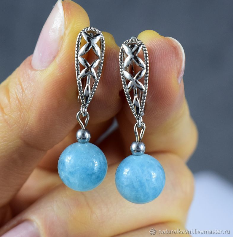 Aquamarine earrings made of natural stones, Earrings, Moscow,  Фото №1