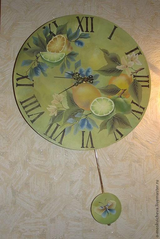 """Часы для дома ручной работы. Ярмарка Мастеров - ручная работа. Купить Часы """"Лимоны"""". Handmade. Часы настенные, часы деревянные"""