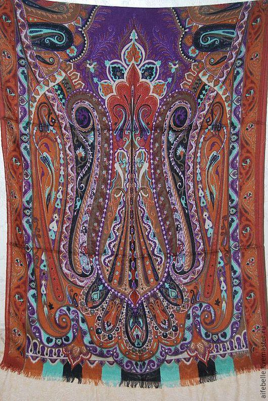 Винтажная одежда и аксессуары. Ярмарка Мастеров - ручная работа. Купить Палантин Etro с коричнево-бордовыми пейсли 180х60 см. Handmade.