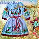 Платье с вышивкой для девочки 5 лет, полулён. Вышивка по переду, рукавах и по кругу низа платья.