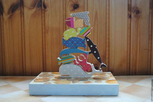 """Развивающие игрушки ручной работы. Ярмарка Мастеров - ручная работа. Купить Игрушка балансир """"Океан"""". Handmade. Комбинированный, кит, дельфин"""