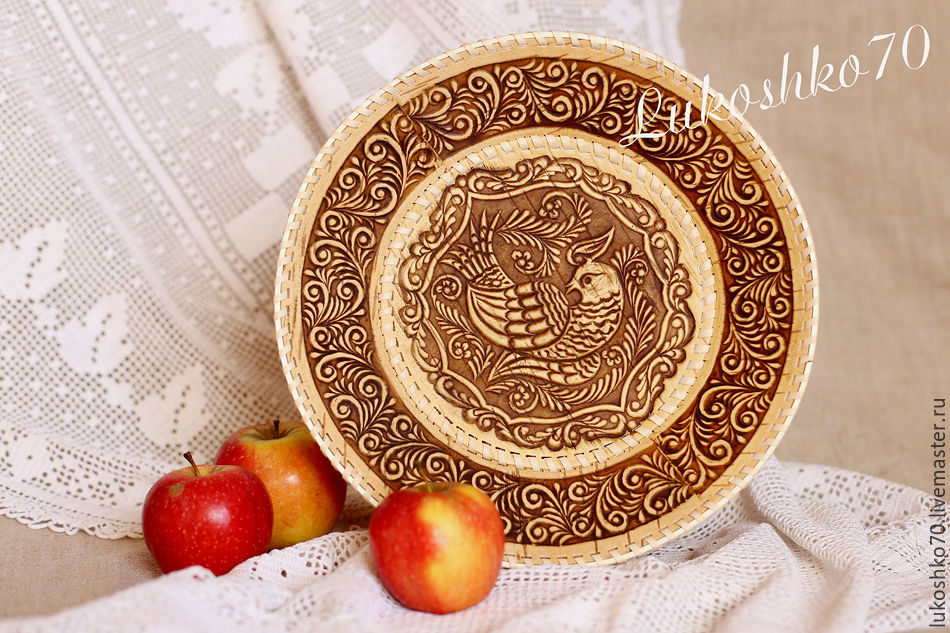 Round dish made of birch bark 'the Firebird'. Dishes from birch bark and wood, Plates, Tomsk,  Фото №1