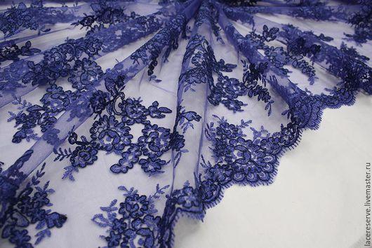 Шитье ручной работы. Ярмарка Мастеров - ручная работа. Купить Синяя вышивка на сетке Италия. Handmade. Тёмно-синий