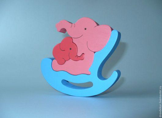 Развивающие игрушки ручной работы. Ярмарка Мастеров - ручная работа. Купить Пазл-сувенир качалка слон со слоненком. Handmade.
