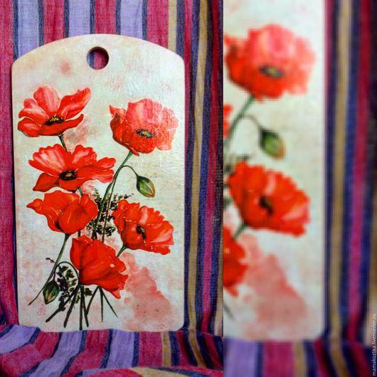 """Кухня ручной работы. Ярмарка Мастеров - ручная работа. Купить Разделочная доска """"Маки"""". Handmade. Ярко-красный, цветы маки"""