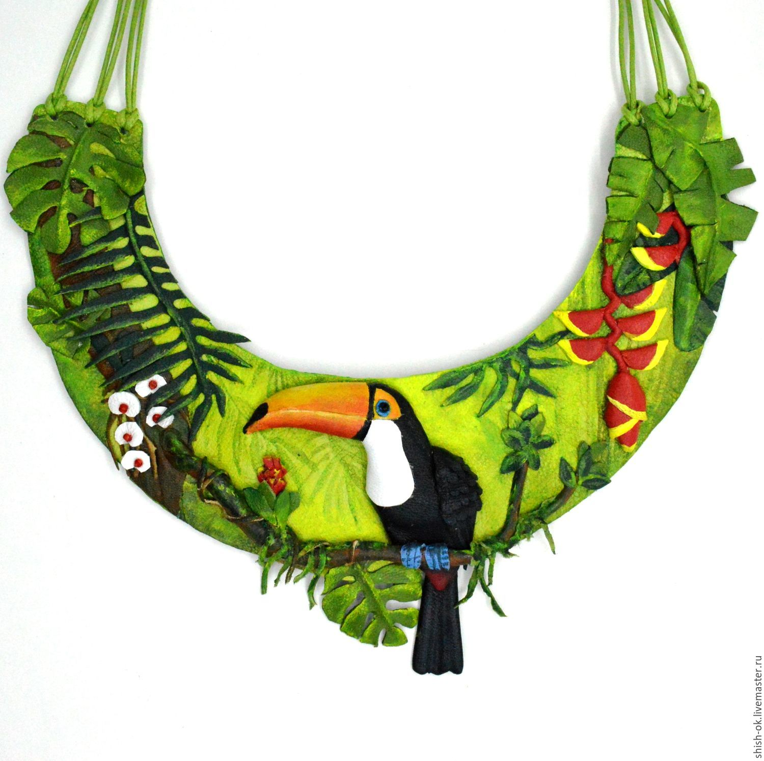 Necklace in leather ' Toucan', Necklace, Moscow,  Фото №1
