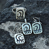 Украшения handmade. Livemaster - original item Earrings, ring and pendant Rock Paintings Men of silver 925. Handmade.