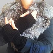 Аксессуары ручной работы. Ярмарка Мастеров - ручная работа Митенки рукава кашемировые черные под жилет. Handmade.