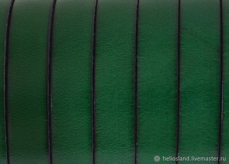 Кожаный шнур плоский 10 мм зеленый, Шнуры, Москва,  Фото №1