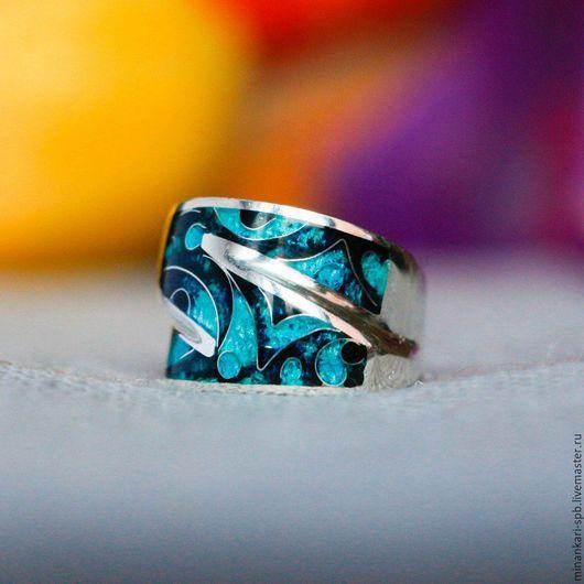 """Кольца ручной работы. Ярмарка Мастеров - ручная работа. Купить Кольцо """"Бирюзовая мечта"""" из серебра с эмалью. Минанкари. Handmade. Бирюзовый"""