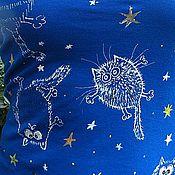 """Одежда ручной работы. Ярмарка Мастеров - ручная работа Майка """"Звездные коты"""". Handmade."""