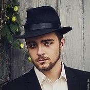 Аксессуары handmade. Livemaster - original item Men`s classic Fedora hat. Color black. Handmade.