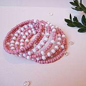 Украшения handmade. Livemaster - original item Multi-row Bracelet Spring Pink and White Marshmallow Sweets. Handmade.