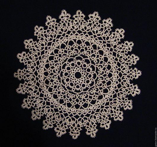 Текстиль, ковры ручной работы. Ярмарка Мастеров - ручная работа. Купить Салфетка Изящная диаметром 25 см в технике фриволите. Handmade.