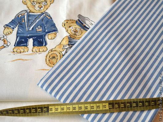 Шитье ручной работы. Ярмарка Мастеров - ручная работа. Купить Ткань бязь Синие полосы. Handmade. Бязь, ткань для постельного