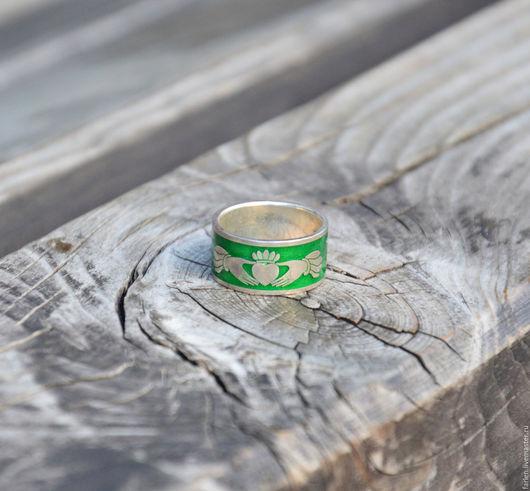 Подарки для влюбленных ручной работы. Ярмарка Мастеров - ручная работа. Купить Кладдахское кольцо с эмалью (широкое). Handmade. Кладда
