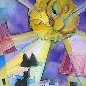 Картины и панно ручной работы. Ярмарка Мастеров - ручная работа Лунный кот. Handmade.
