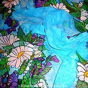 Аксессуары handmade. Livemaster - original item Silk scarf blue with flowers with batik daisies. Handmade.