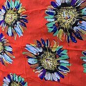 Ткани ручной работы. Ярмарка Мастеров - ручная работа Шелковый палантин Ромашки разные. Handmade.