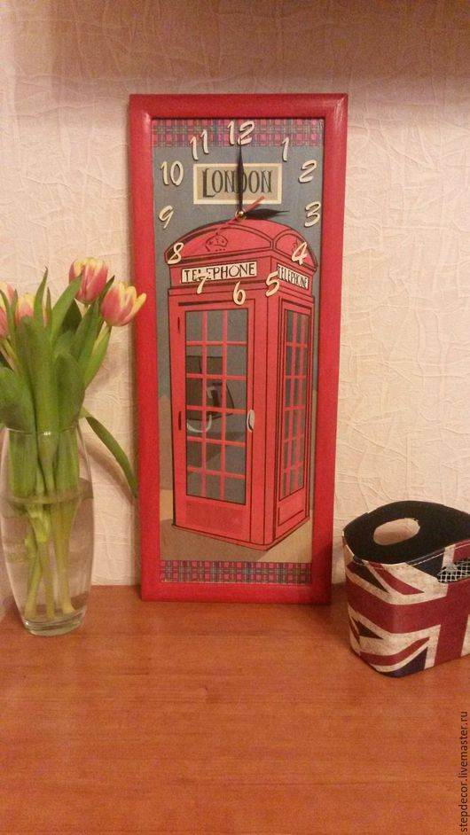 """Часы для дома ручной работы. Ярмарка Мастеров - ручная работа. Купить Часы настенные """"Лондон"""". Handmade. Ярко-красный, лондон"""