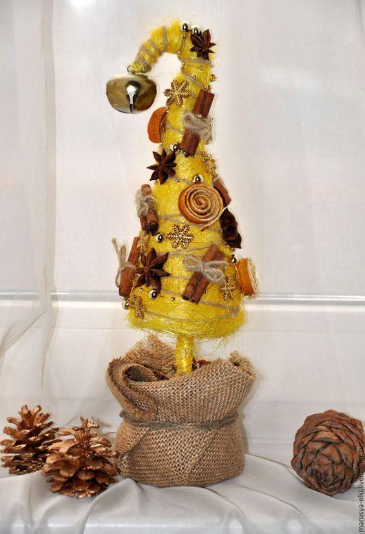 """Новый год 2017 ручной работы. Ярмарка Мастеров - ручная работа. Купить """"Пряности и радости"""" новогодняя ёлочка. Handmade. Желтый"""