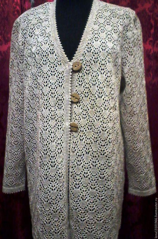 Кофты и свитера ручной работы. Ярмарка Мастеров - ручная работа. Купить 100% льняная пряжа.Кардиган ЗОНТИКИ. Handmade.