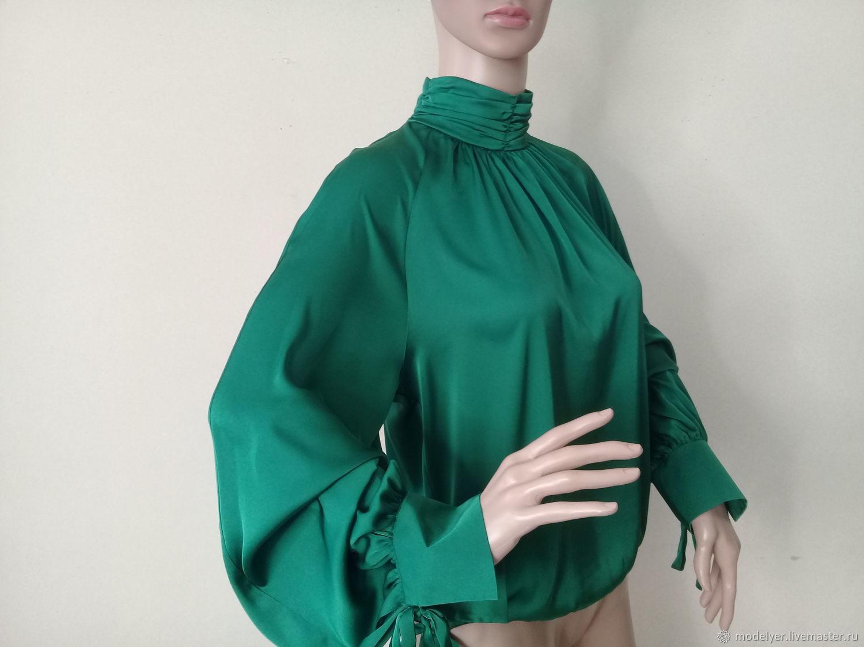 Blouse%#%40R., 42p., 44r., 46R., 48r., 50., 52r/ silk, green, Blouses, Moscow,  Фото №1