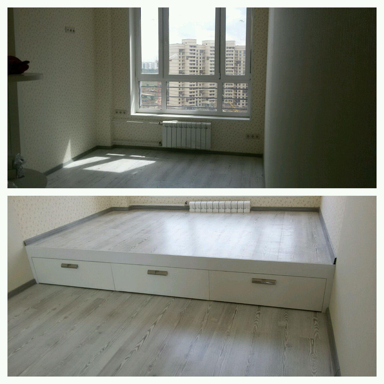 Подиум для кровати своими руками в квартире 45