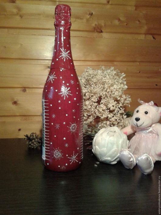 Новый год 2017 ручной работы. Ярмарка Мастеров - ручная работа. Купить Декор новогодних бутылочек (1). Handmade. Комбинированный