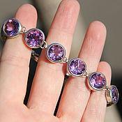 Браслет из серебра с фиолетовыми аметистами
