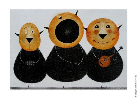 Животные ручной работы. Ярмарка Мастеров - ручная работа. Купить Песня о сметане. Handmade. Картина, картина в подарок, подарок