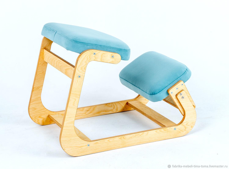 Коленный стул 'Otto', натуральный велюр, бирюзовый, Стулья, Пермь,  Фото №1