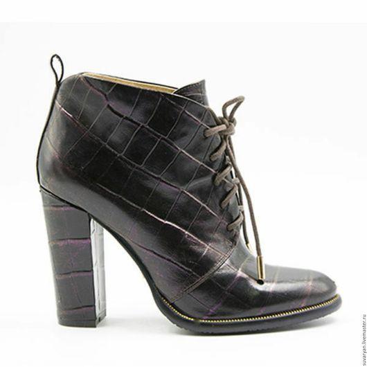Обувь ручной работы. Ярмарка Мастеров - ручная работа. Купить ботинки женские. Handmade. Хаки, шоколадный цвет, ботинки женские