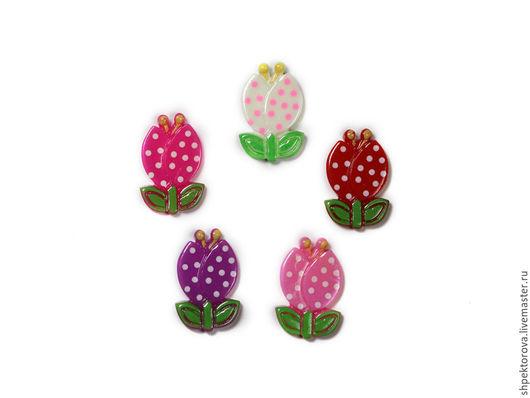 Другие виды рукоделия ручной работы. Ярмарка Мастеров - ручная работа. Купить Кабошоны тюльпаны 14х24мм. Handmade. Разноцветный