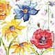Декупаж и роспись ручной работы. Ярмарка Мастеров - ручная работа. Купить Цветы, акварель (SLOG028201) - салфетка для декупажа. Handmade. Разноцветный